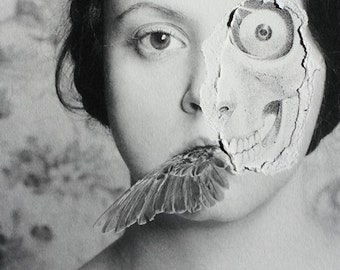 A Sampling - FREE SHIPPING Black & White Portrait Print Image of Girl with torn paper face Bone Teeth Distorted Surreal Creepy Dark Art