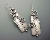 Sterling Silver Big Bold Twirl Dangle Earrings with Textured Metal Zigzag Design French earwires