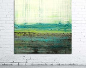 "Original 34x36"" abstract painting on canvas in turquoise, green and white - FOLIUM - Large contemporary art"