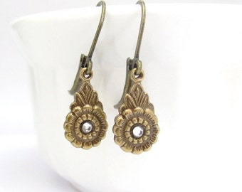 Dainty Petite Dangle Earrings, Art Nouveau Earrings, Rhinestone Earrings, Art Deco Earrings, Bridesmaid Gift, Bridal Jewelry, Wedding