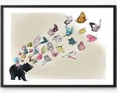 Moon Bear Butterflies Art Print - Illustration drawing butterfly  A4 / A3 / A5 / 8 x 10 giclee print