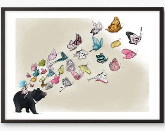 Moon Bear Butterflies Art Print - Illustration drawing butterfly  A4 / A3 / A5 / 8 x 10 giclee print