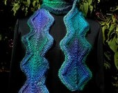 Chain of Diamonds Knit Scarf in Dragonfly Colorway for Raspyroly
