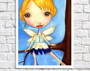 Woodland Fairy Nursery Decor Cute Baby Girl Room Ideas Wall Decor Blue & Yellow Art Pictures For Girls Room Illustration Kids Painting Print