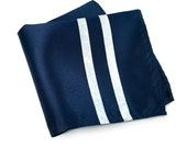 """Blue and white racing stripes pocket square. """"Side Oiler"""" American livery handkerchief. Sportscar enthusiast men's gift."""