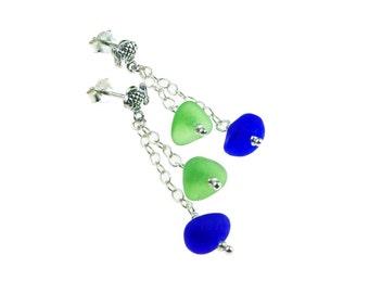 fish earrings, seaglass earrings, cobalt blue, sprite green, dangle earrings, sterling silver jewelry, geniune seaglass, beachglass earrings