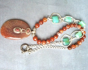 Peruvian Chalcedony, Fire Agate sterling silver pendant long necklace