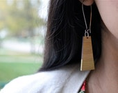 Gold Dipped Bamboo Trapezoid Earrings