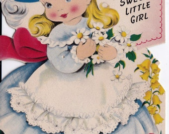 Vintage 1950's Happy Birthday To A Sweet Little Girl Greetings Card (B15)