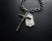 thy will be done - crucifix and st christopher chain bracelet - vintage religious found charms unisex mens and womens jewelry