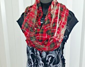 Reclaimed Infinity Scarf . Recycled Flannel Shirt . Distressed . Deconstructed . Rockabilly . Winter . Goth . Grunge . Denim