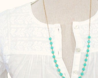 Modern Bar Turquoise Strand Necklace