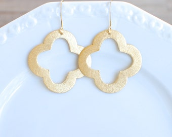 Large Brushed Gold Clover Earrings. Gold Plate Ear Wires.