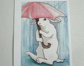 Bunny with an Umbrella - Small Archival Fine Art Print