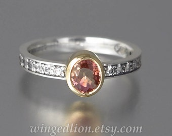 size 7.5 Ready to ship DAPHNE silver & 14k gold ring with Tourmaline
