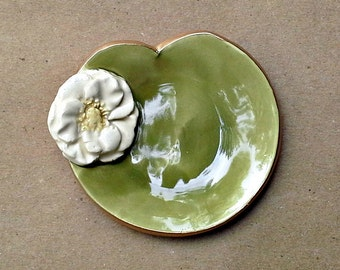 Water Lily Ceramic Wedding  Ring Holder Bowl gold edged white flower sage leaf
