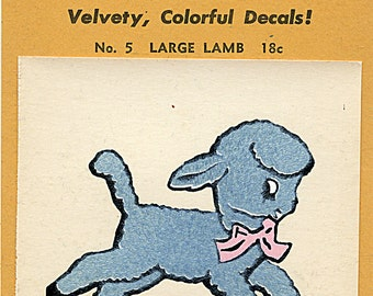 Vintage LAMB Decal FUZZY WUZZY 1945 Flocked Children Kiddie Sheep 1940s #5  More Available