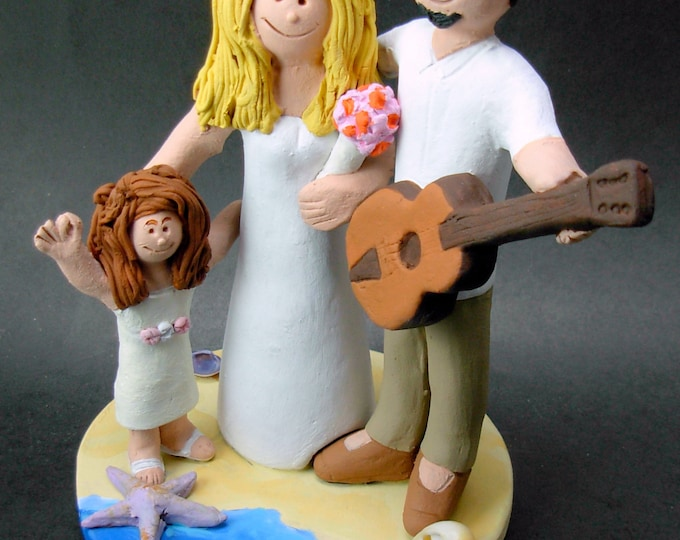 Acoustic Guitarist's Wedding Cake Topper, Guitar Wedding Cake Topper, Wedding Cake Topper with Daughter, Step Daughter Wedding Cake Topper