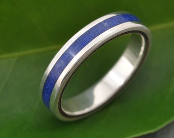 Lados Lapiz Azul Recycled Sterling Silver, Stone and Wood Ring