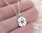 Sterling Silver Tiny Compass Charm Chain Necklace DJStrang Travel Protection Guidance Talisman