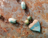 Ocean Love / Handmade Ceramic Shoreline Heart, Gemstone and Copper Chain Necklace