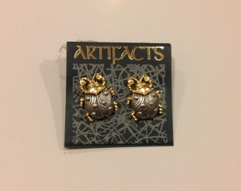 Artifacts J.J. Lady Bug stud earrings Silvertone & Goldtone new old stock