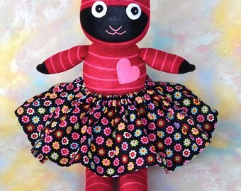 Handmade Sock Cat with Skirt, Stuffed Animal Kids Doll Art Toy, Hug Me Sock Cat, Personalized Tag, Red, Pink, Stripes 16 inch, Ready-made