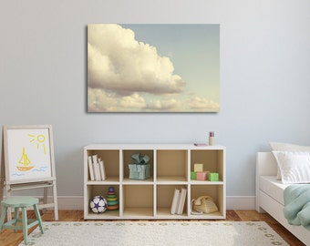 Cloud Nursery Art, Nursery Decor, Cloud Wall Decor, Children's Art, Canvas Art, Playroom Decor, Blue Sky, Cloud Photos, Home Decor