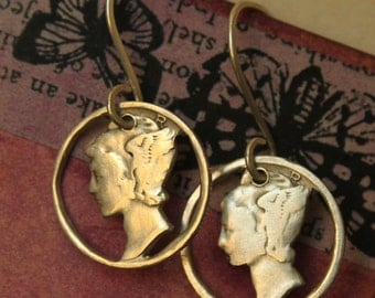 hand cut silver mercury dime coin earrings  for the boho gypsy girl who travels at lightning speed - 90% silver