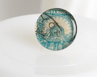 Ring | Postage stamp | Hungary | Teal | Large | Size 5