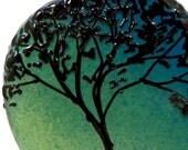 Aqua Teal Fade Oak Silhouette Tab bead