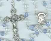 December Birthstone Rosary ~ Blue Zircon