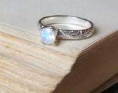 Moonstone Engagement Ring Bright Finish Promise Ring Gemstone Stacking Ring