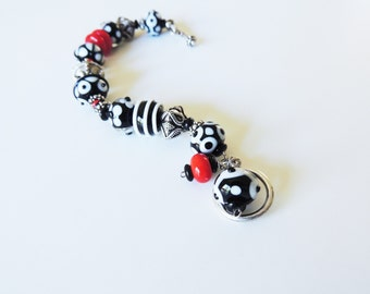 Artisan Lampwork Bracelet Red Black and White  with Sterling Silver 'Queen of Hearts'