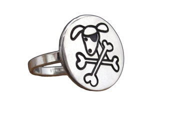 Pirate Dog Ring - Sterling Silver Dog Ring