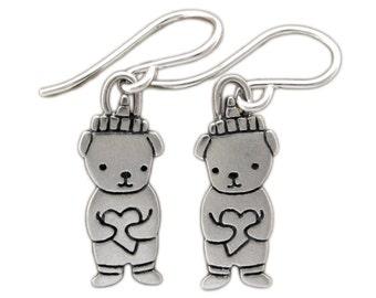 Little Honey Bear Earrings - Sterling Silver Honeybear Earrings