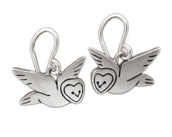 Little Barn Owl Earrings - Sterling Silver Owl Earrings