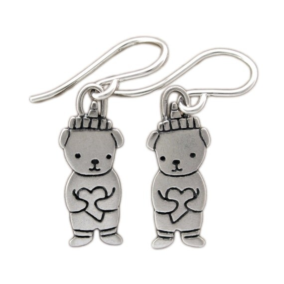 Little Honey Bear Earrings - Sterling Silver Honeybear Earrings
