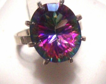 ring Mystic Rainbow Quartz DAZZLING  in sterling silver - earth friendly ethical sources READY to mail Size 4 - Clearance  SALE