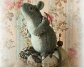 A Handcrafted Wool Felt Mouse Cross Stitched Pin Cushion.