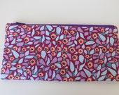Purple Floral Linen Pencil Zip Pouch
