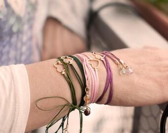 Bohemian Heart Bracelet. Colorfull bracelet with Heart charm. Friendship Heart Bracelet.
