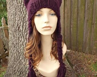 Knit Hat Womens Hat - Braided Ear Flap Cat Hat in Eggplant Purple Knit Hat - Purple Hat Purple Ear Flap Hat Womens Accessories Winter Hat