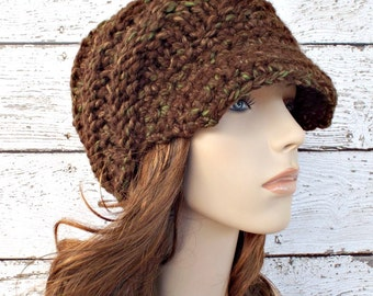 Knit Hat Womens Hat Newsboy Hat - Swirl Beanie with Visor in Mesquite Brown Knit Hat - Brown Hat Womens Accessories