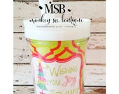 Everlasting toddler Christmas tumbler with straw - wish you joy christmas design - monogrammed and personalized child's cup - holiday cup