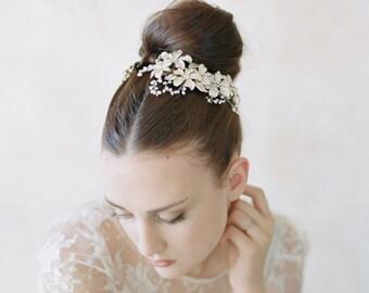 Bridal hair combs, enamel flowers - Enamel flower garden combs pair - Style 559 - Made to Order