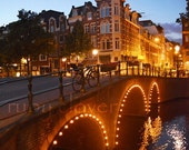 AMSTERDAM at Night, Urban Photography, Glowing City, EUROPEAN Bridge, Reflections on Water, CANAL Photo, Bike Lover,Stoner Art,Golden Bridge