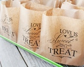 Wedding Cookie Favor Bag  - Love is Sweet Have a Treat  - Kraft Grease Resistant Cookie Bags - 25 Bags