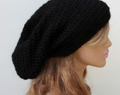 Very slouchy pure Alpaca wool Tam Hat Hippie Slouchy Beanie dread men women black