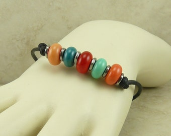 Desert Colors Lampwork Bead Toggle Bracelet > Turquoise Teal Aqua Coral Desert Western Floral Glass Black Leather -  I ship Internationally